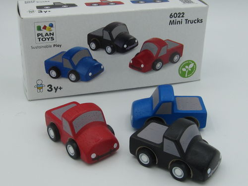 Plan Toys, Mini Trucks, 3kpl, 3v